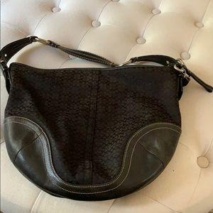 Coach logo black leather trim and canvas hobo bag
